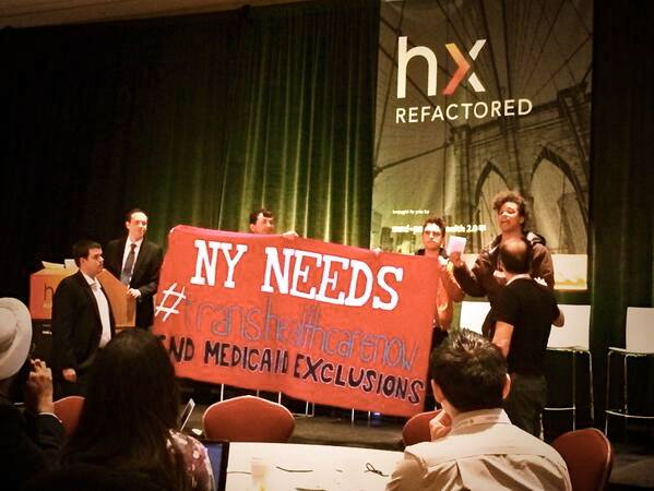 """New York needs trans healthcare now."" The May 15 protest that told a healthcare conference that 16 years of discrimination is, indeed, intolerable and that, yes, trans lives do matter."