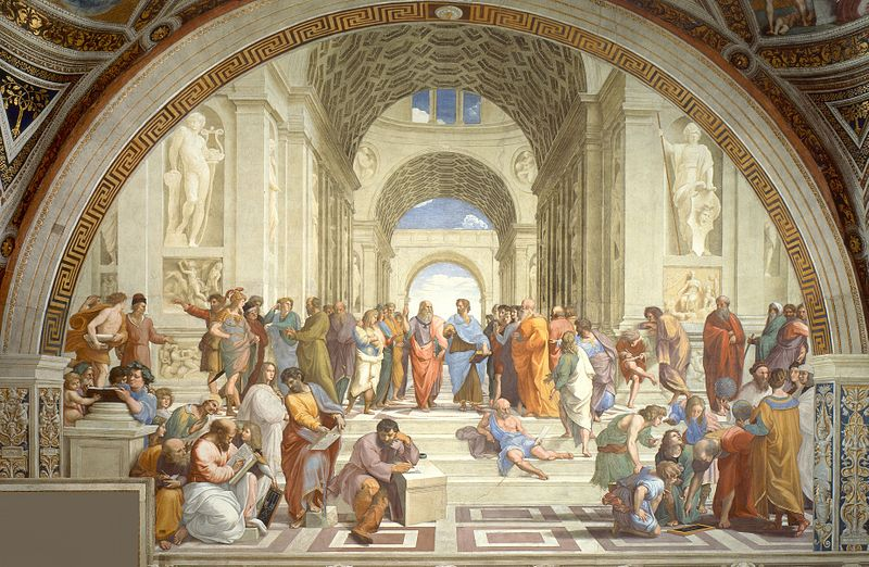 A Renaissance painting, Raphael's The School of Athens, depicting idealised Greek men, mostly philosphers, engaged in stately discourse in a grand, apparently marble, hall.
