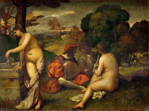 painting of nude women ignoring musician