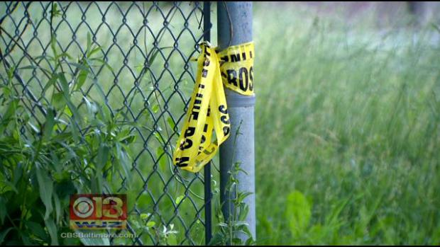 Police tape hangs off a fence.