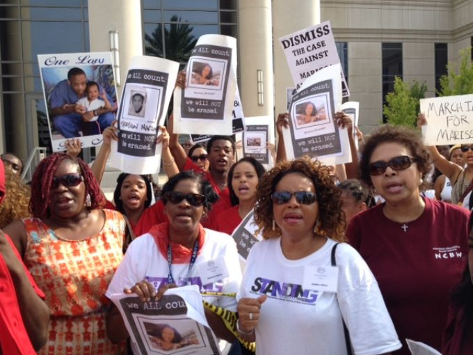 A group of black women holding signs at the Free Marissa march in Jacksonville, FL last weekend