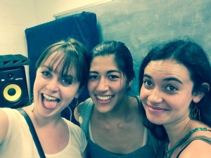 Emma Sulkowicz, center, with Zoe Ridolfi-Starr (L) and Gabriela Pelfinger (R)