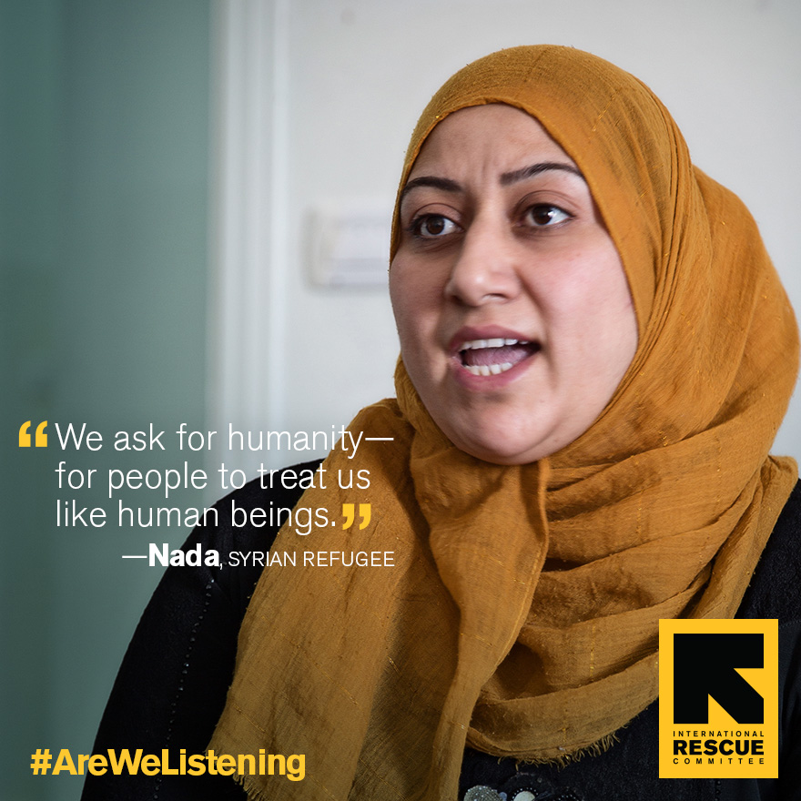 """Nada, a Syrian refugee, is wearing hijab and speaking, with quote:  """"We ask for humanity - for people to treat us like human beings."""""""