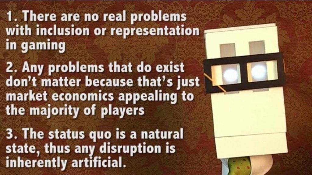A still from an excellent video deconstructing GamerGate by Dan Olson at blip.tv, clearly outlining the first principles that most GamerGaters take for granted. Germane to this article, anyone who does not believe this is liable to have their nerd/gamer cred severely questioned. (http://blip.tv/foldablehuman/s4e7-gamergate-7071206)