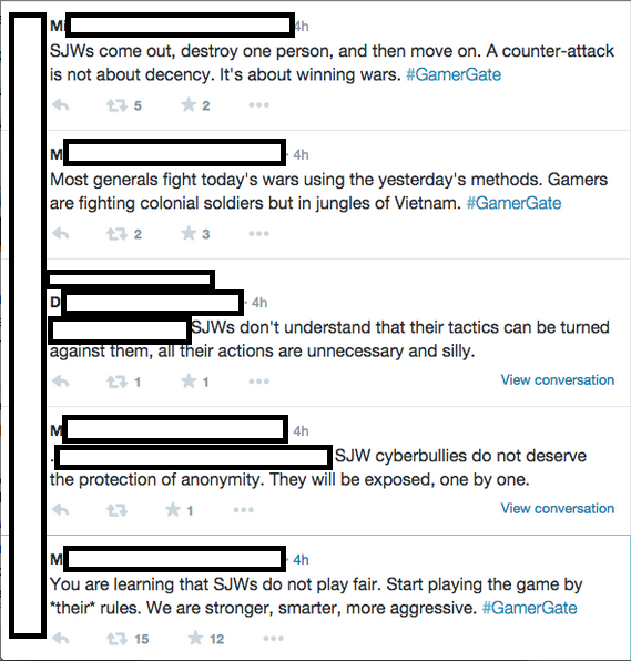 "Some gamers criticised Alexander and others for seeming to diminish the importance of video games by saying they're not worth getting so upset about. They see this as a high insult to their pasttime, but these tweets illustrate why perspective matters. No matter how much you love your hobby, if you don't keep things in proportion you start seeing everything as a ""war."" Vietnam, to be precise. (""SJW"" stands for ""social justice warrior"" and is the chief bete noire of GamerGaters)."