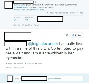 """Threats like these appear regularly for Leigh Alexander, in part because she's a woman who """"insulted"""" them and in part because the perceived insult has been conflated with """"corruption"""" and """"unethical journalism."""""""