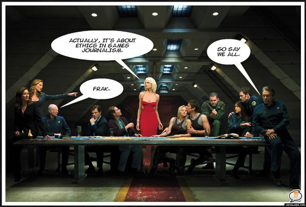 The Battlestar Galactica last supper promo image. Number Six: Actually, it's about ethics in games journalism. Adama: So say we all. Tigh: Frak