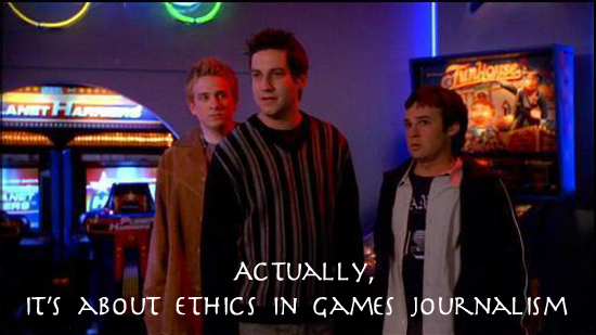 The nerd troika from Buffy. Actually, it's about ethics in games journalism