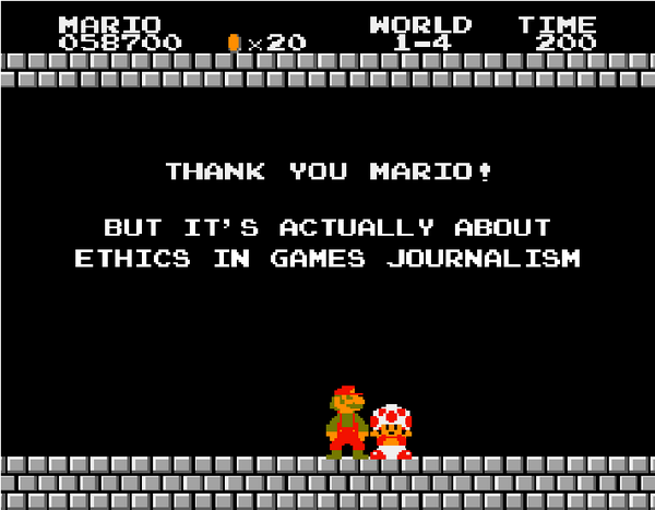 Thank you Mario! But it's actually about ethics in games journalism
