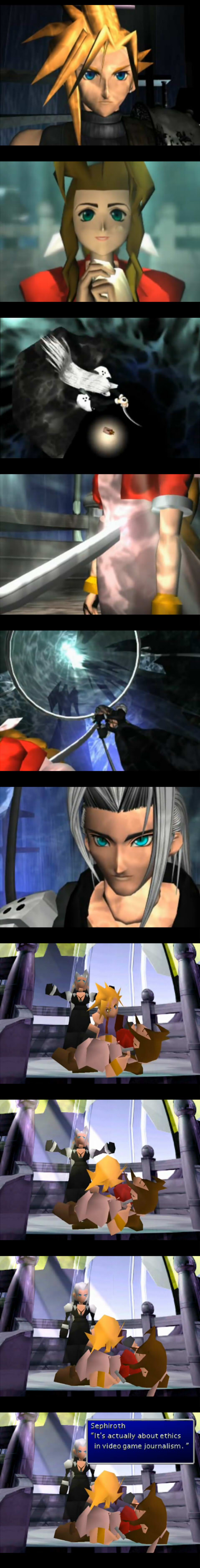 Sephiroth kill scene from Final Fantasy. Sephiroth: Actually it's about ethics in games journalism