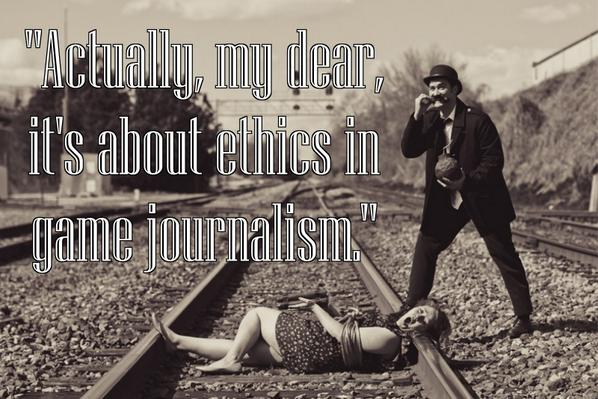 Old movie still of woman tied to train tracks while villainous man looks on. Actually, my dear, it's about ethics in game journalism.