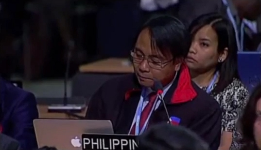 Naderev Saño delivering a speech to the UN